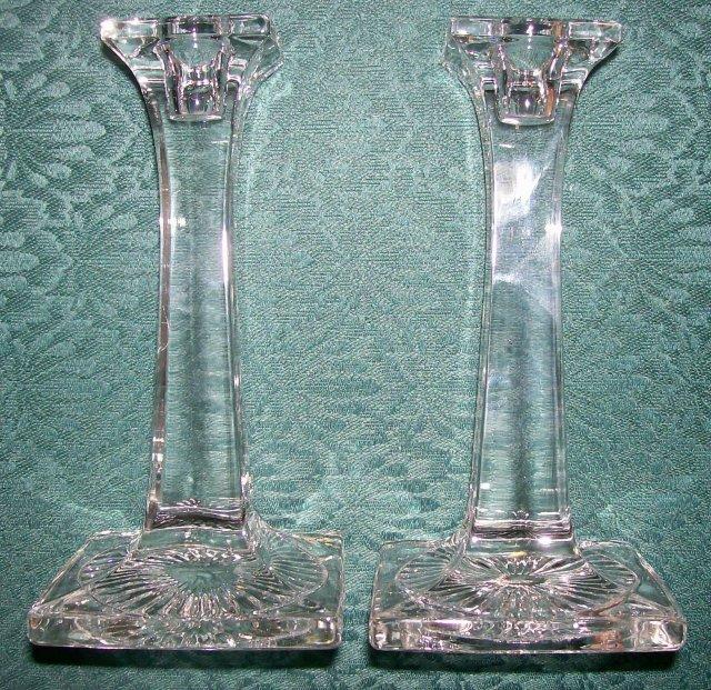 1920's Clear Glass Candlestick Pair New Martinsville/Paden City Tall Column 7