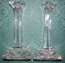 1920's Clear Glass Candlestick Pair New Martinsville/Paden City Tall Column 7