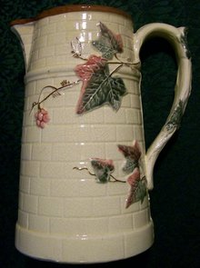 Antique Majolica Pitcher: Ivy on Brick Ca. 1890's