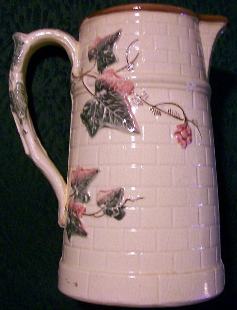 Antique Majolica Pitcher Ivy on Brick Ca. 1890's 8.5