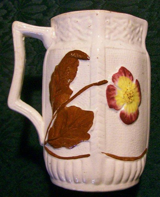 English Majolica Ceramic Pitcher 1886 Flower & Leaf 4 7/8