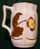 English Majolica Ceramic Pitcher 1886 Flower & Leaf 4 7/8