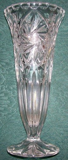 Pressed Crystal Vase with Cut Star Accents