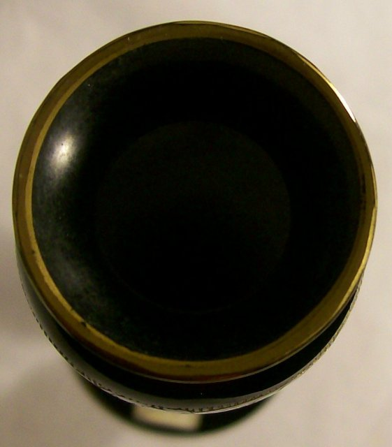 Black Glass Vase with Gold Encrusted Band