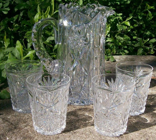 Libbey Cut Glass Pitcher & Tumbler Set: