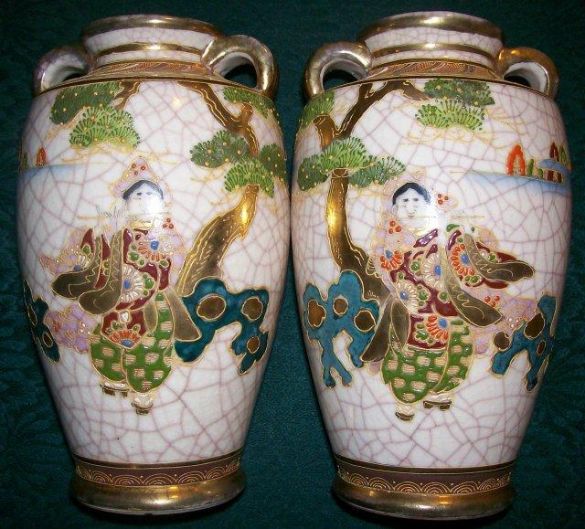Signed Satsuma Vase Pair:  Mirror Image