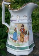 Sterling China / American Limoges Pitcher: Dutch Children Decals 1900-02