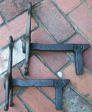 Fireplace Andirons: Sand-Cast Iron: Mid-Late 1800's
