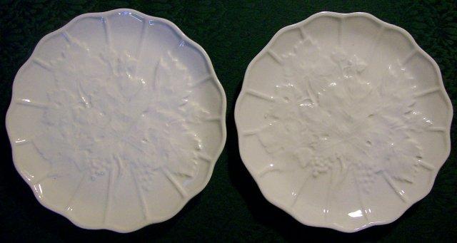 Czechoslovakian Majolica Grape Leaf Plate Pair