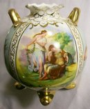 Angelica Kaufmann Decaled Ceramic Vase Austria Mark