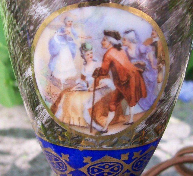 Mid-Century Vase lamp with Romantic Decals 9.5