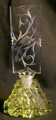Czechoslovakian Cut Glass Perfume with Stopper