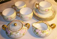 Hand Painted Cream & Sugar with 4 Cups & Saucers