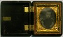 Ambrotype of Child in Union Case Mid 1800s 1/16th Plate 1.75