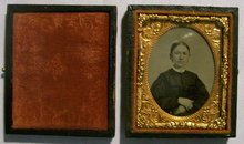 Tintype of Woman with Case:  1/9th Plate