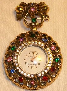 C.H. Stuart Pin-Back Watch Ca. 1961 Hanover Swiss Movement MC Rhinestones
