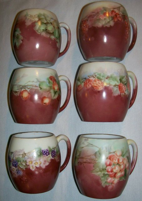 T&V Limoges Porcelain Mug Set:  Six Different Hand-Painted Fruit Designs