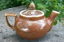 Fraunfelter China Teapot: Zanesville Ohio Brown Glaze Restaurant Ware