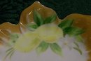 Art Deco Noritake Porcelain Lemon Dish Hand-Painted Lemons Petal Edge