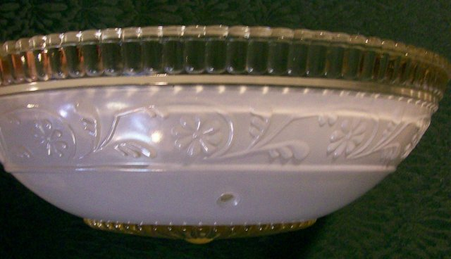Glass Ceiling Light Shade Embossed Flower Band White/Clear 10.25