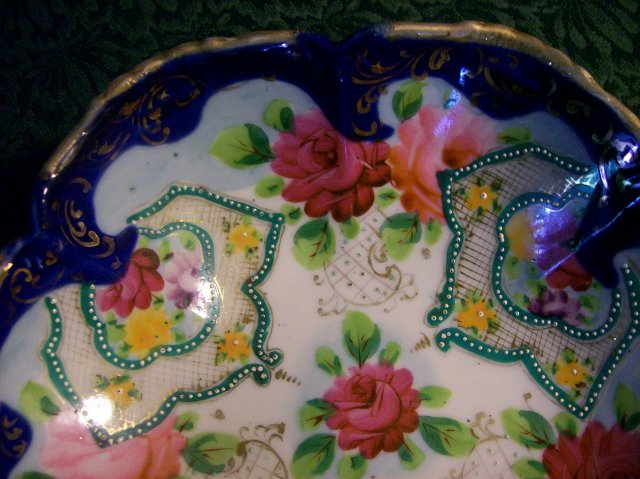 Nippon Footed Bowl:  Roses, Cobalt  & Gold