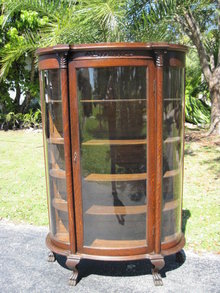 Oak  Bow Front China Curio Cabinet