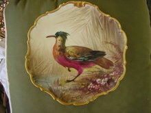 HAND PAINTED  LIMOGES GAME PLATE ARTIST SIGNED