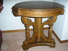 WALNUT VICTORIAN HALL TABLE  WITH INLAY