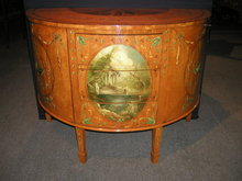 A Fine Quality  English  Demi Lune Painted satinwood Commode / Chest