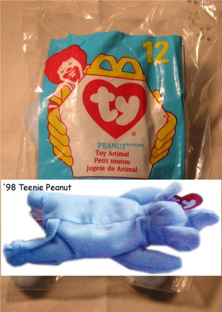 Ty Teanie Beanie Peanut the Light Blue Elephant