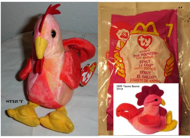 TY Beanie Baby & Teanie Beanie Pair of Roosters