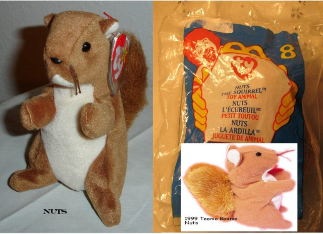 TY Beanie Baby & Teanie Beanie Pair of Squirrels