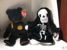 TY Beanie Baby Bear & Skeleton for Halloween