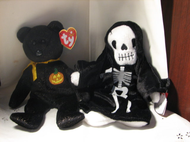TY Beanie Baby Bear & Skeleton for Halloween