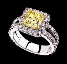 3 ct.radiant canary center diamond engagement ring gold