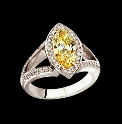 Yellow canary & white diamonds 2.76 ct. ring white gold