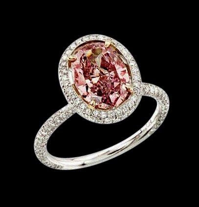 Pink oval center diamond 3 ct. engagement ring gold