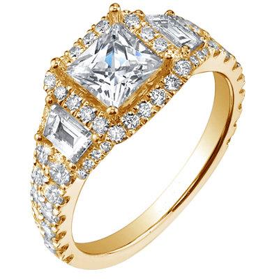 4.46 ct. diamonds engagement ring 3-stone style new