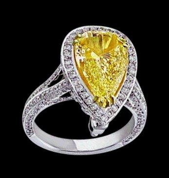 Pear cut yellow canary diamond wedding ring 3 carats