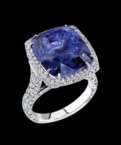 Big cushion diamond 4.5 cts. ring blue diamond jewelry