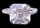Big asscher center diamond 3.16 ct. ring jewelry gold