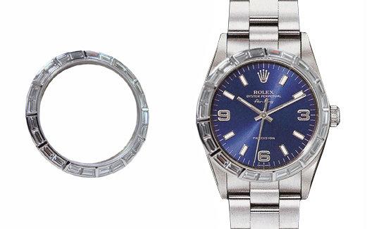 4.01 ct. diamonds gold bezel for rolex breitling watch