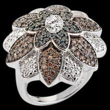 Flower design diamond ring black chocolate diamonds
