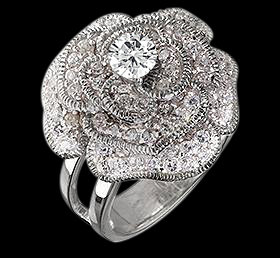 Flower style diamond engagement ring white gold 5 carat