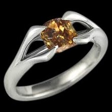 Split shank Chocolate brown diamond solitaire engagement ring 1 carat cushion cut