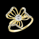 Yellow gold diamond flower shape ring 2.36 ct. diamond