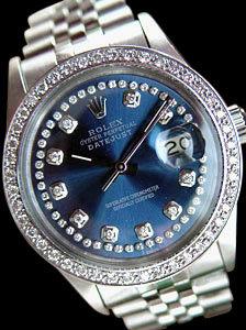 Date just rolex mens watch blue diamonds dial bezel