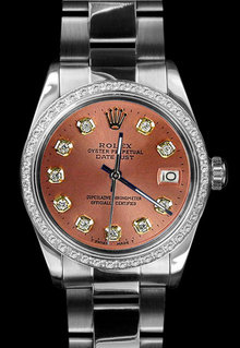 Datejust rolex mens stainless steel watch diamond bezel