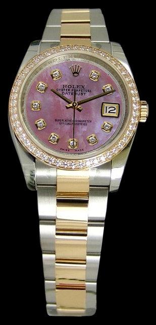 Diamond bezel dial rolex datejust watch lady men
