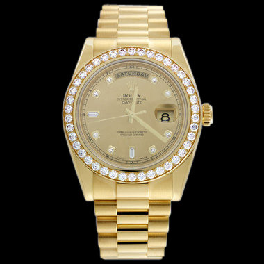 Diamond bezel rolex president watch gold day date men's